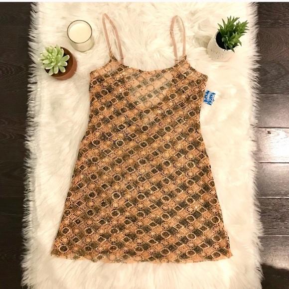 Free People Dresses & Skirts - NWT Free People Crocheted Sequin Slip Dress